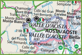 Large detailed Aosta Valley map