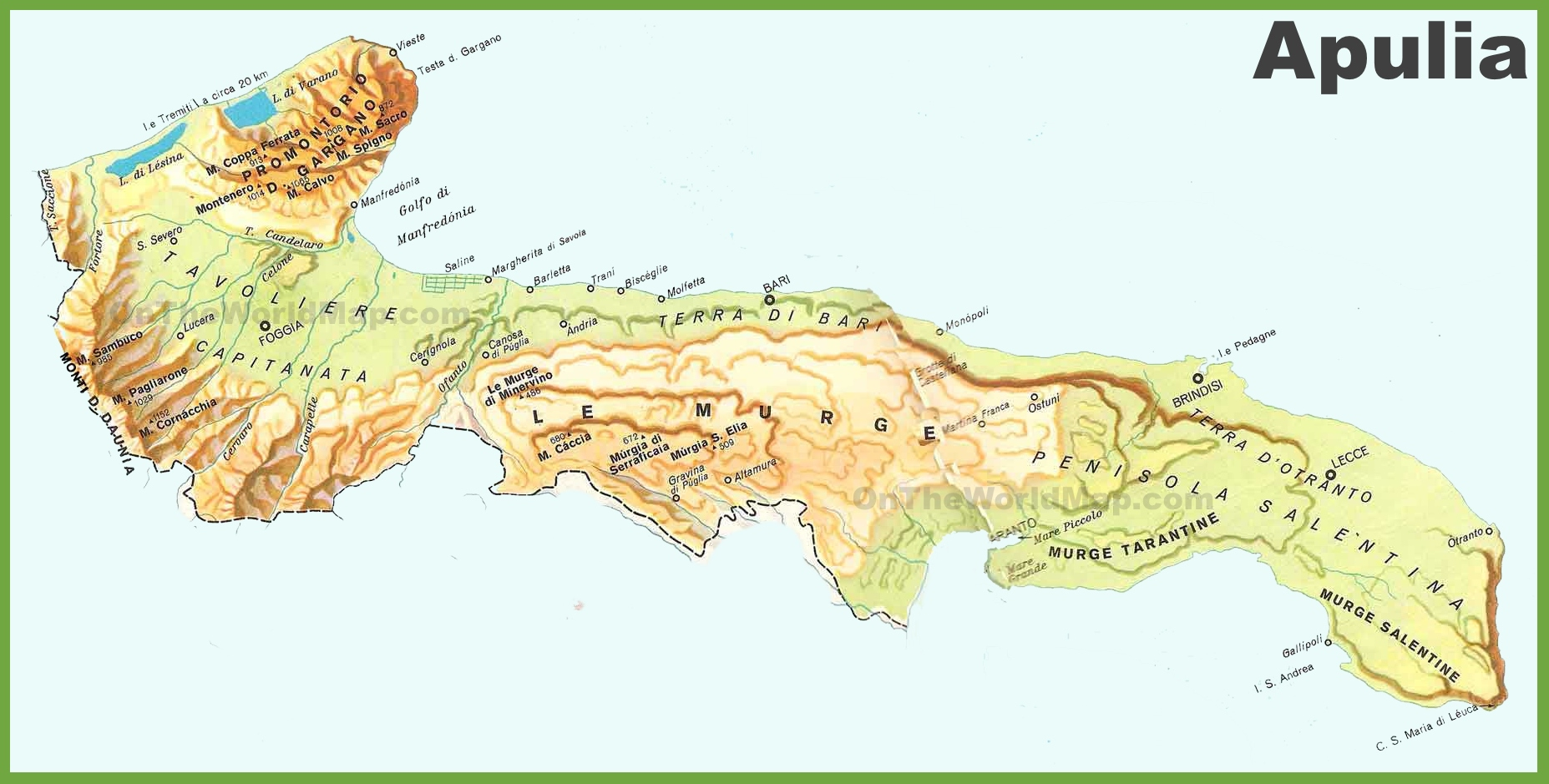 Apulia physical map