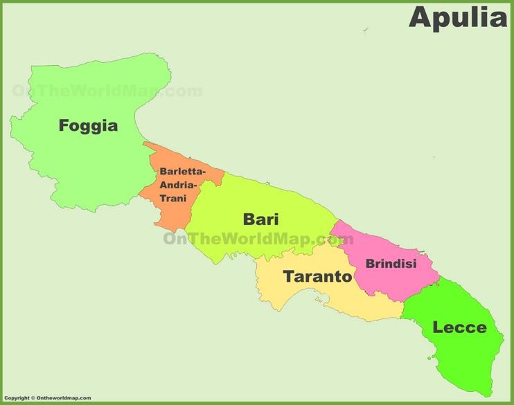 Apulia provinces map