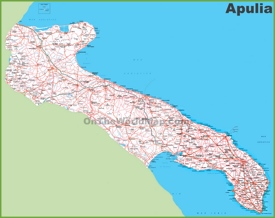 Large detailed map of Apulia with cities and towns