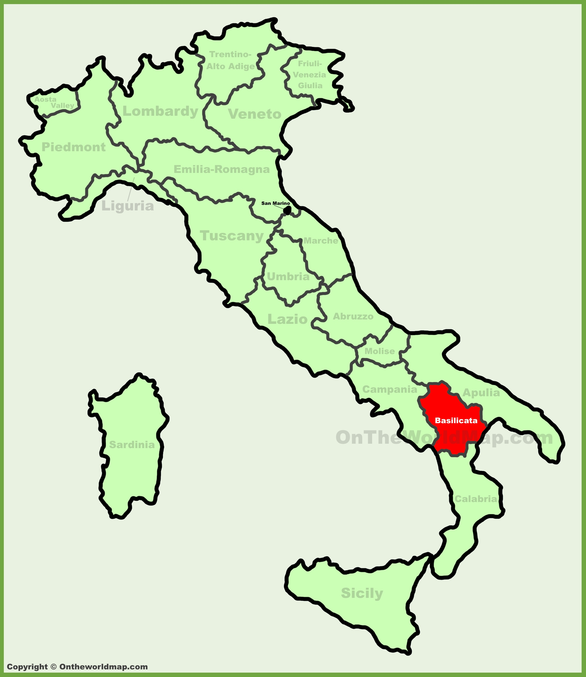 Basilicata location on the Italy map
