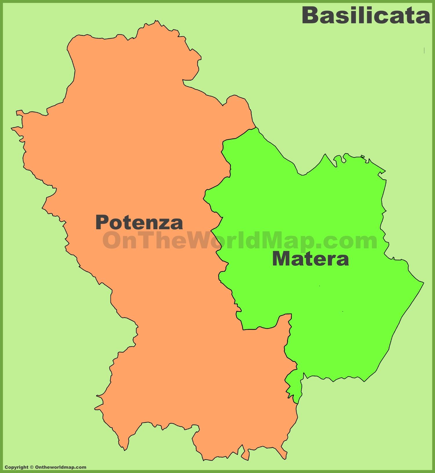 Basilicata provinces map