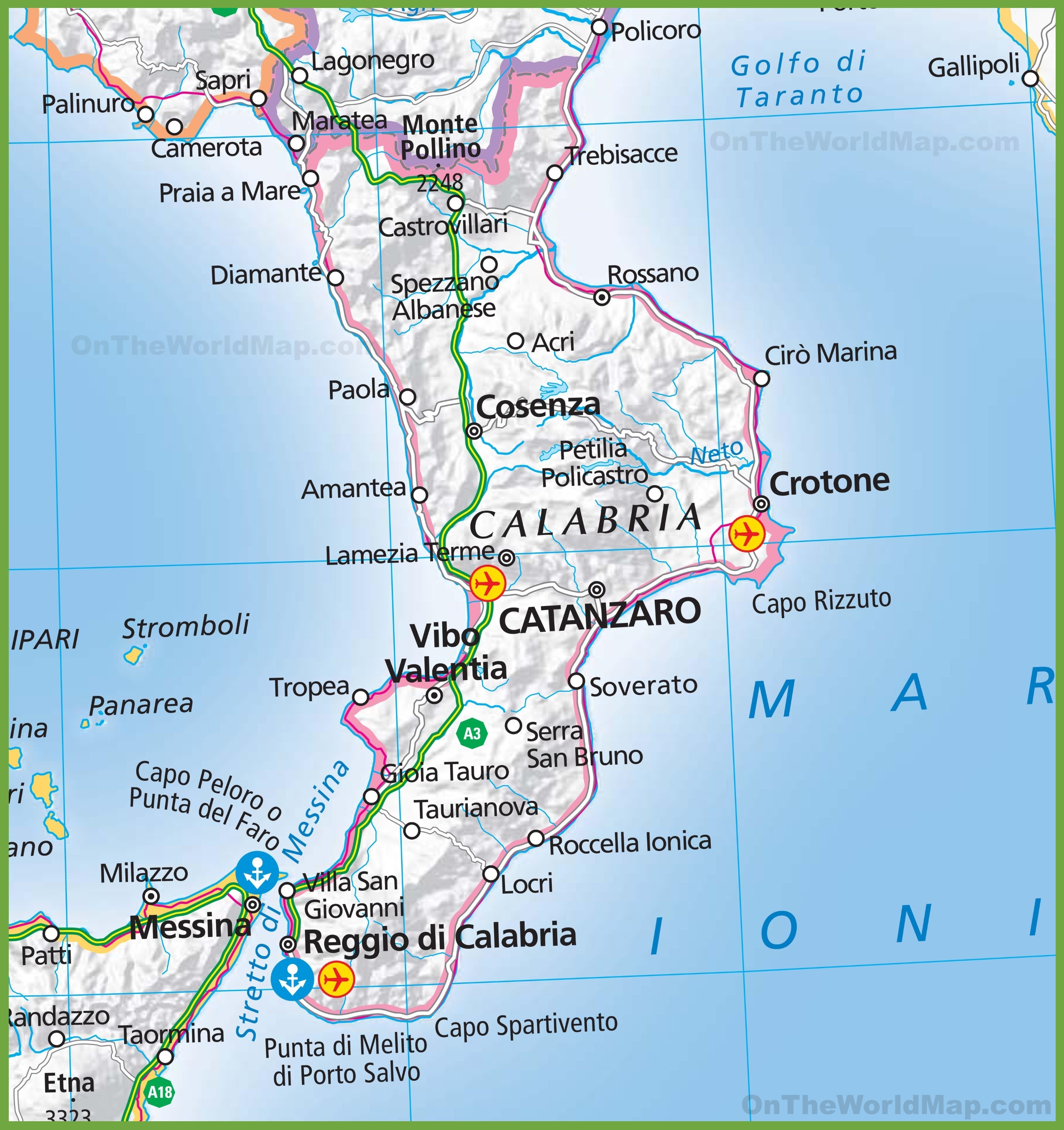 Calabria Italy Map Large map of Calabria