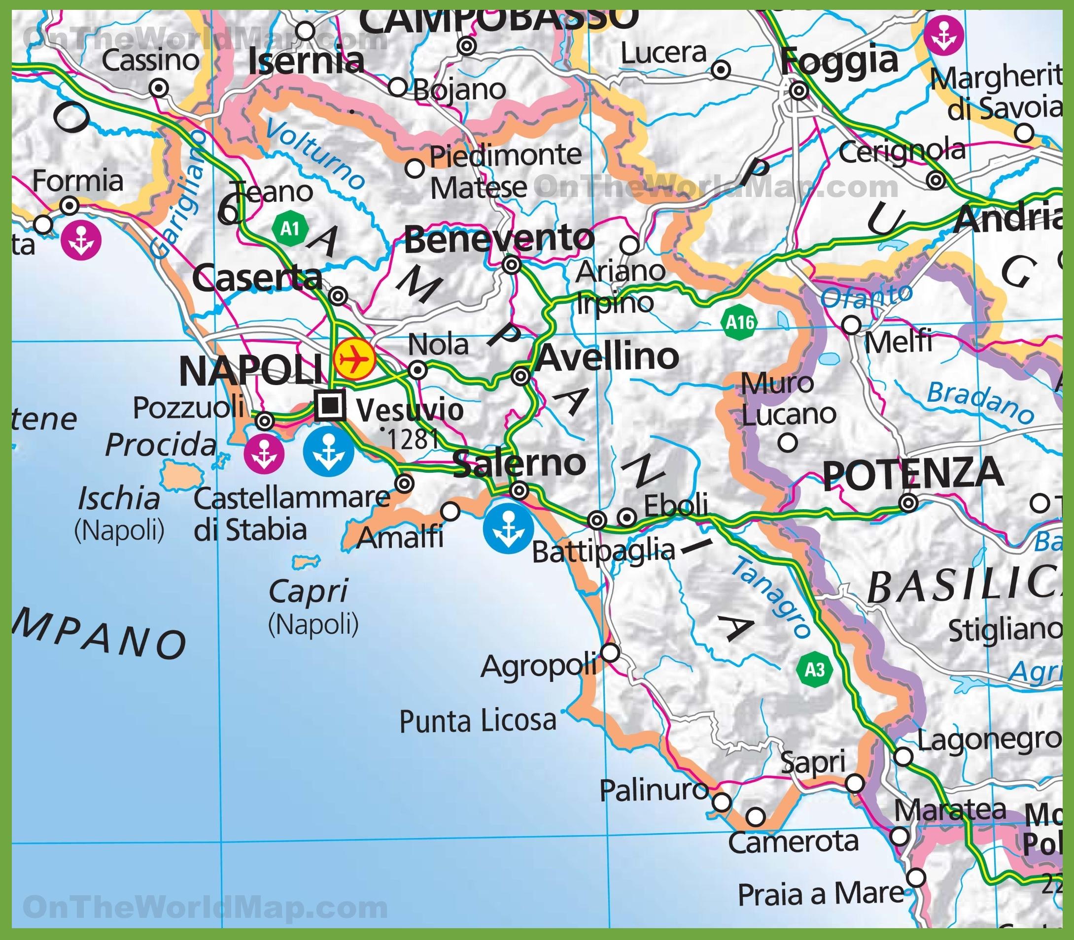 Cartina Campania Grande.Grande Mappa Della Campania