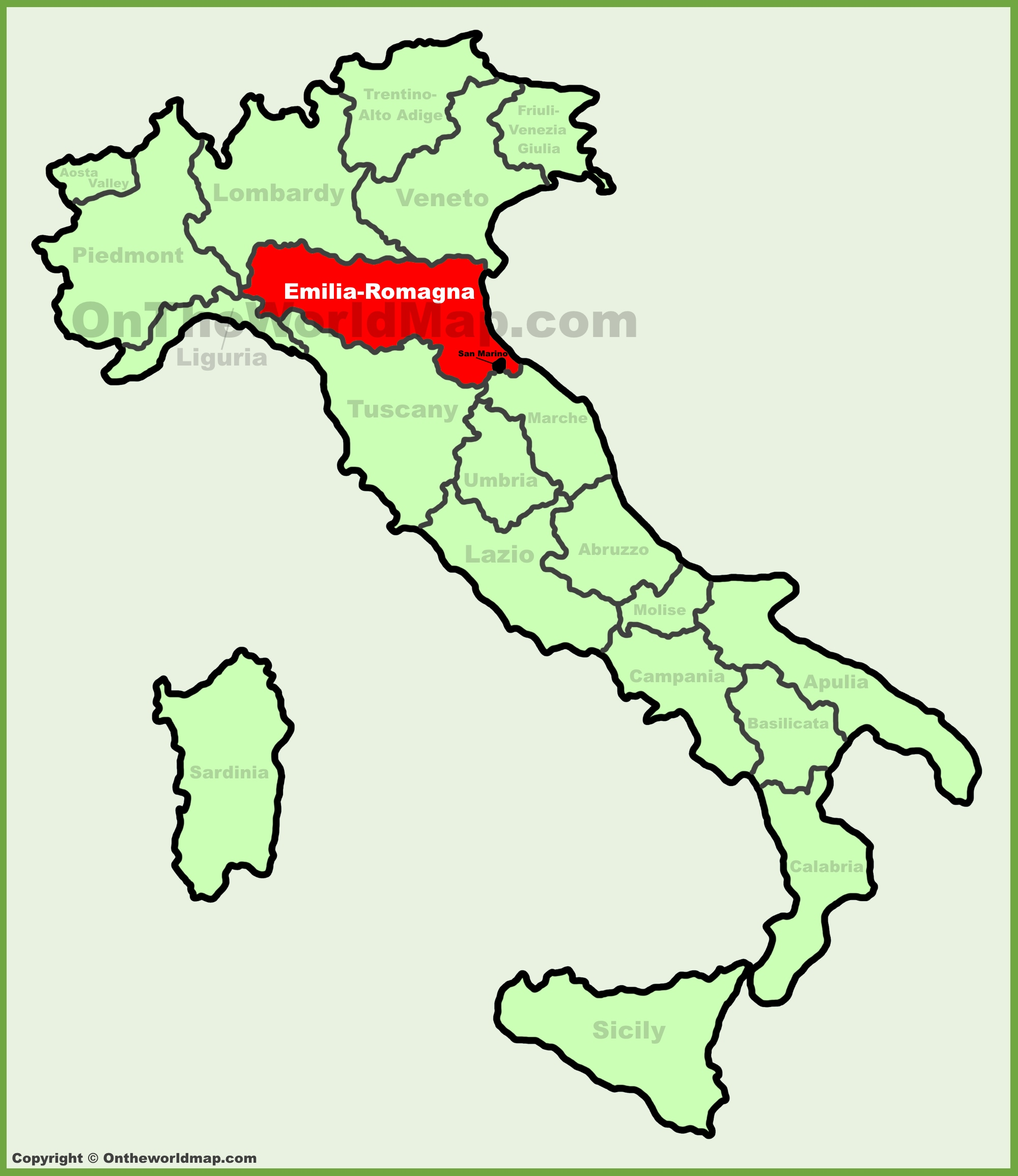 EmiliaRomagna location on the Italy map