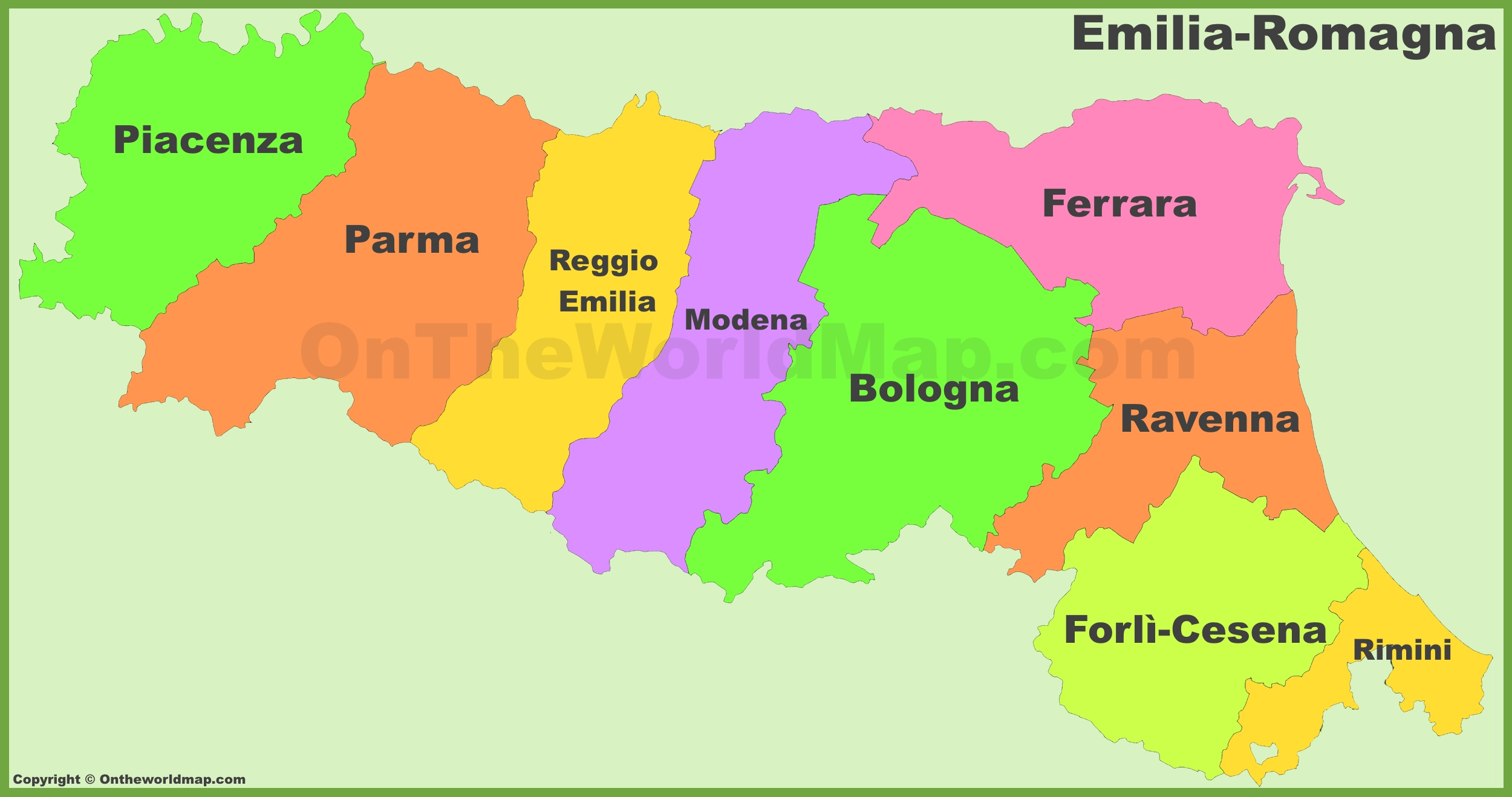 Map Of Provinces Of Italy.Emilia Romagna Provinces Map