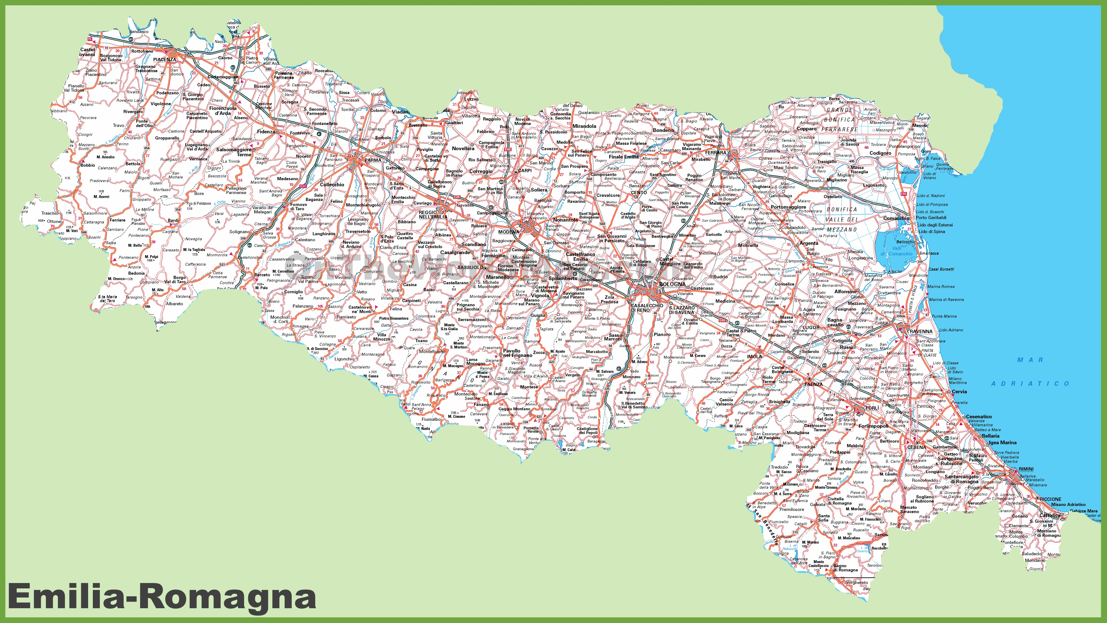 Large detailed map of EmiliaRomagna with cities and towns