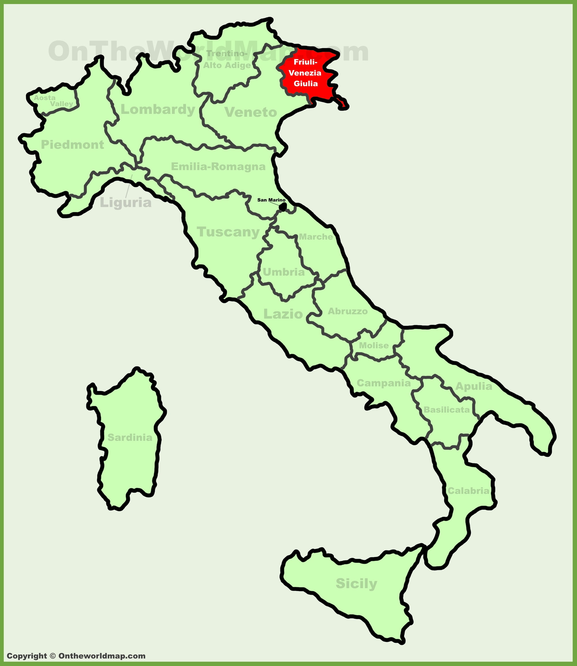 Friuli Italy Map.Friuli Venezia Giulia Location On The Italy Map