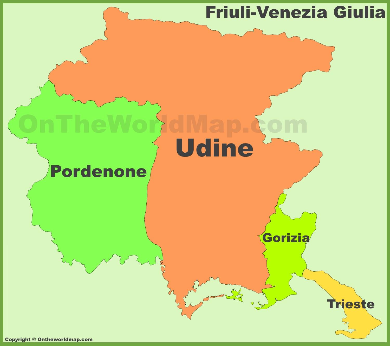 Cartina Friuli Venezia Giulia Province.Friuli Venezia Giulia Mappa Con Province