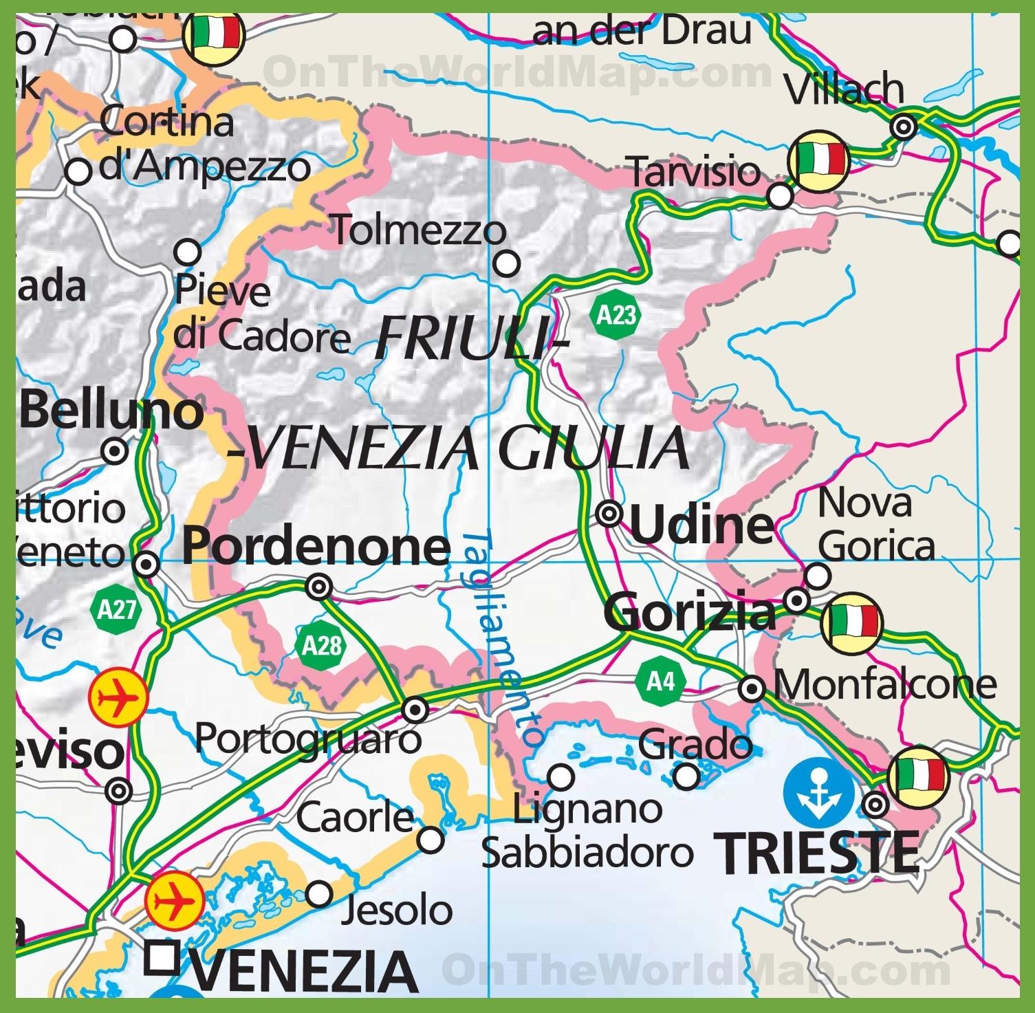 map of Friuli Venezia Giulia