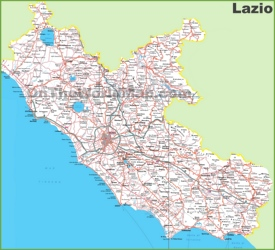 Large detailed map of Lazio with cities and towns