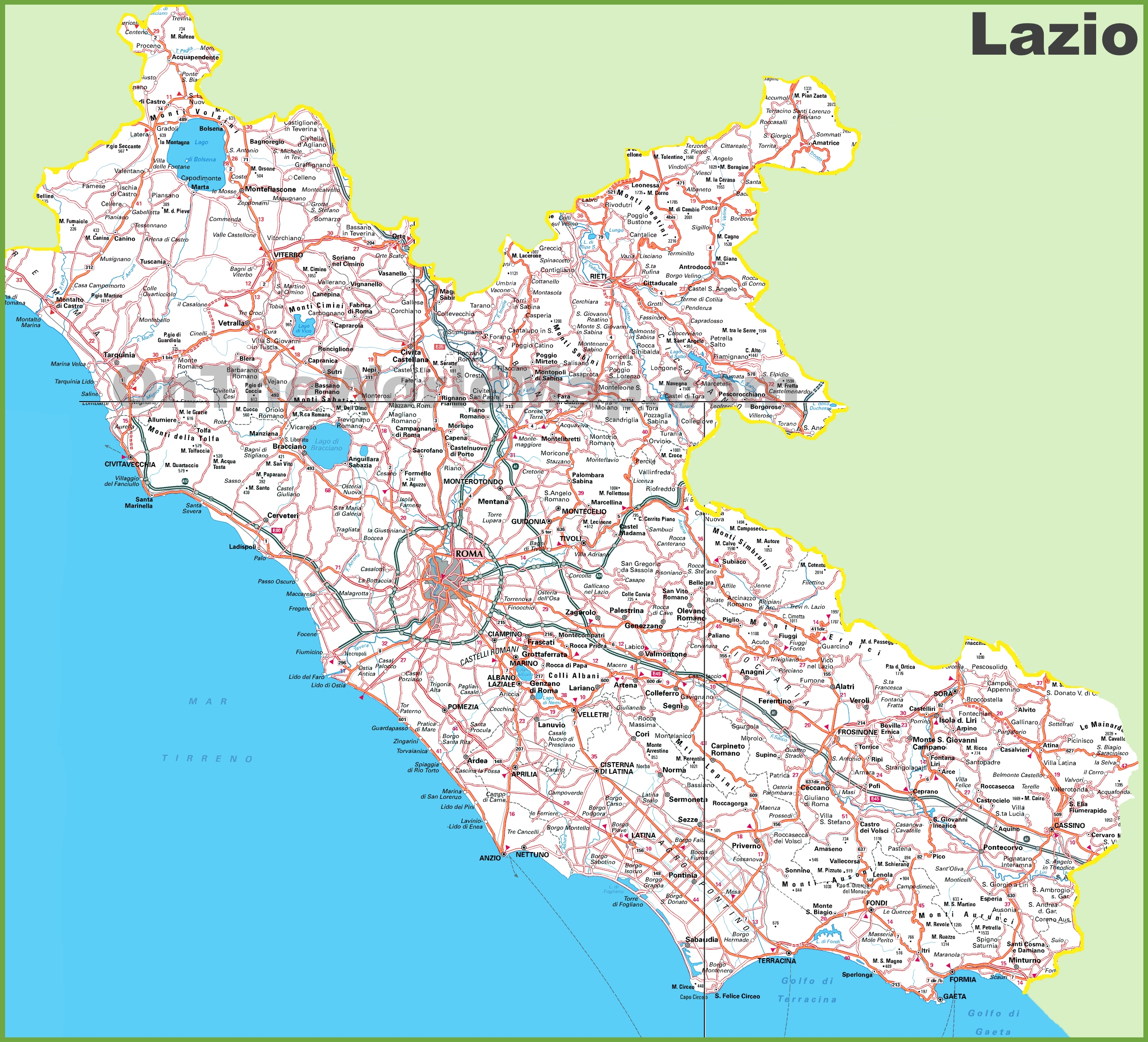 Large Detailed Map Of Lazio With Cities And Towns - Cities map of italy