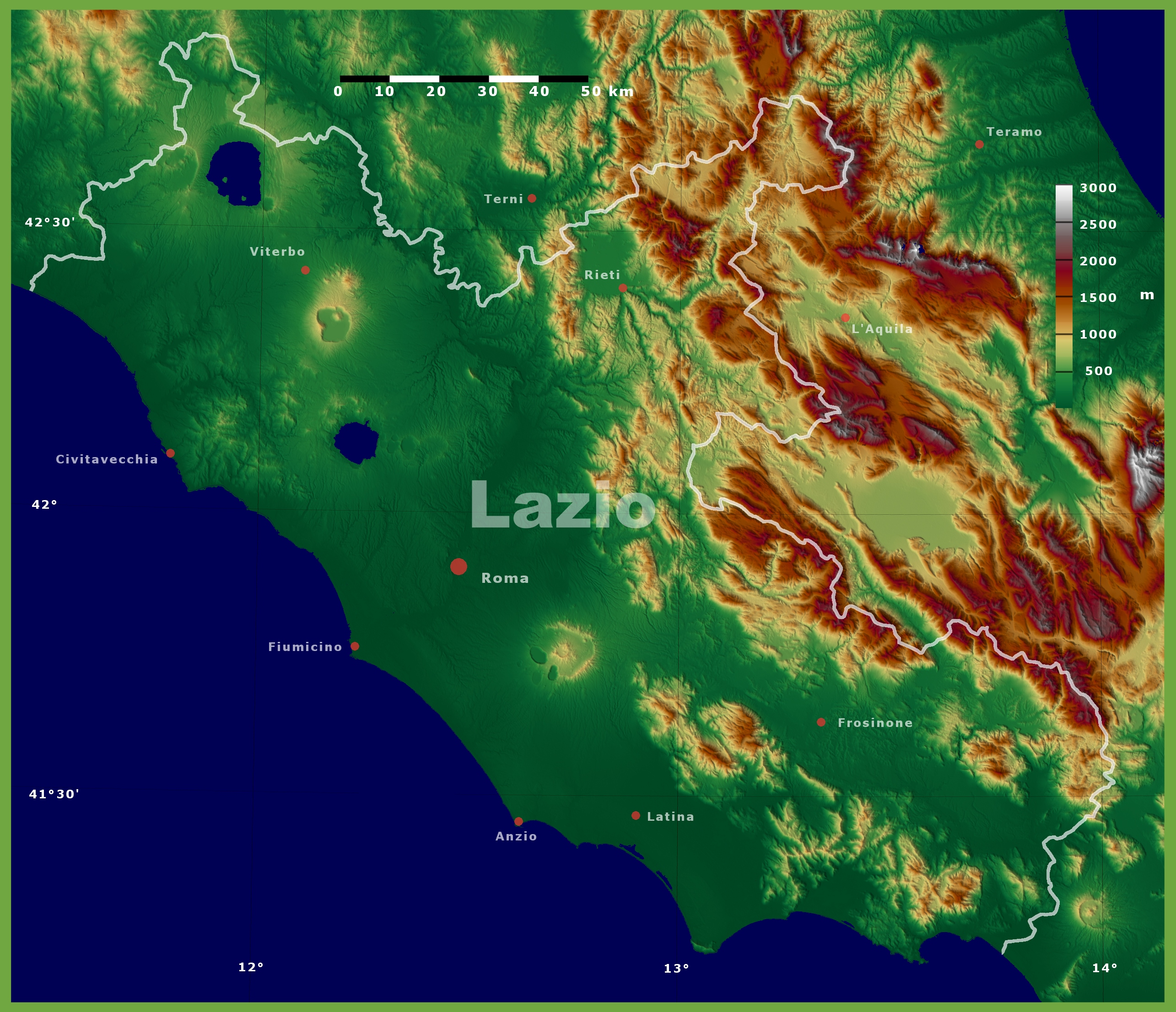 Map Of Lazio Region Italy on Italy Physical Map