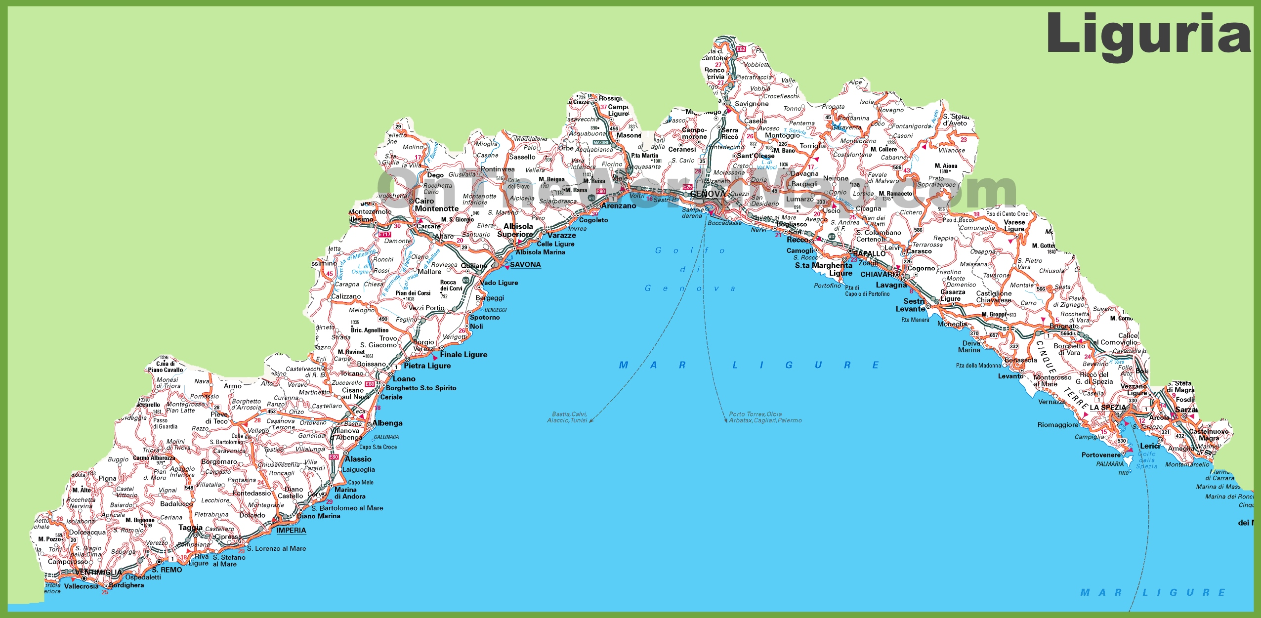 Large detailed map of Liguria with cities and towns