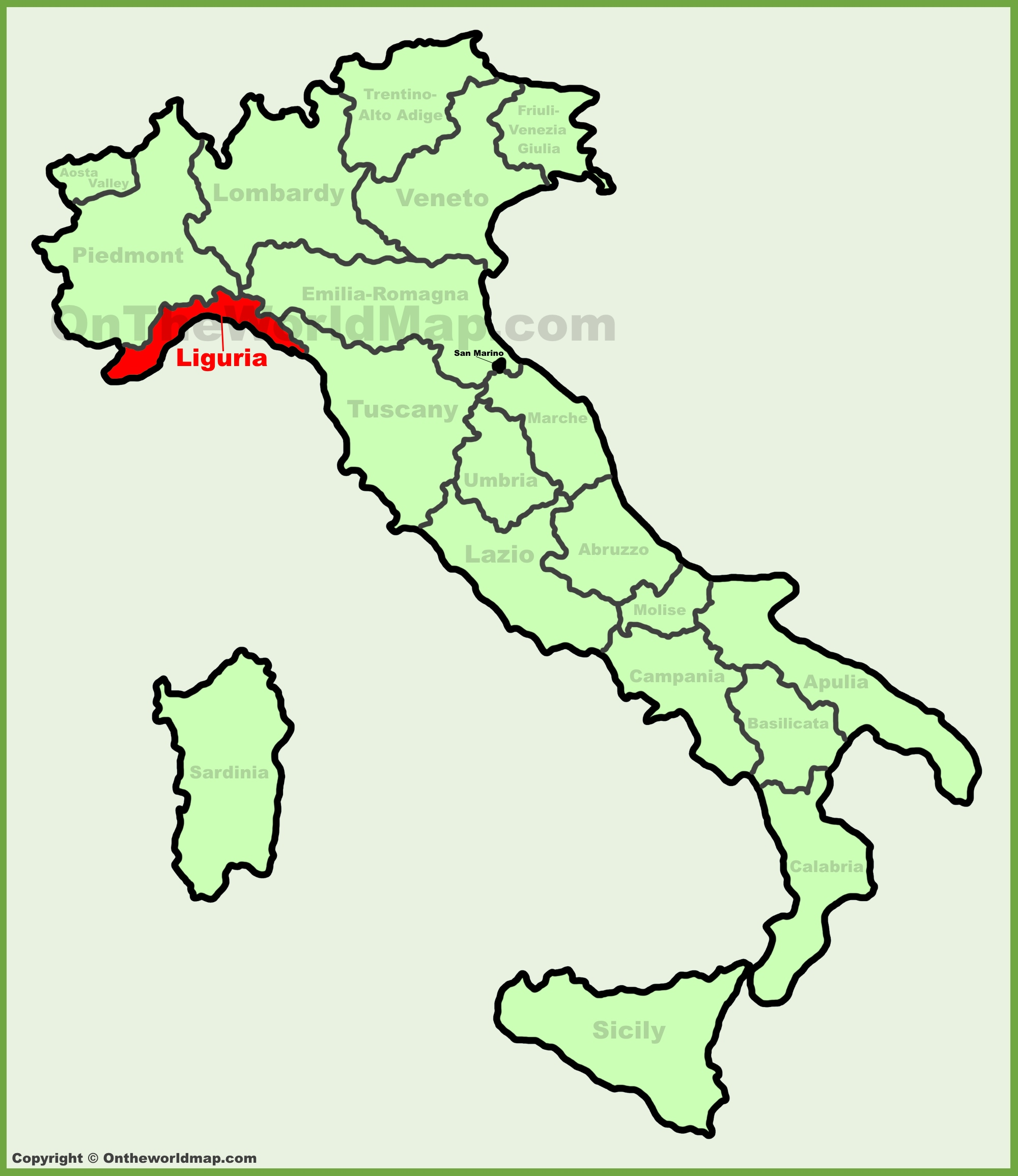 Liguria location on the Italy map