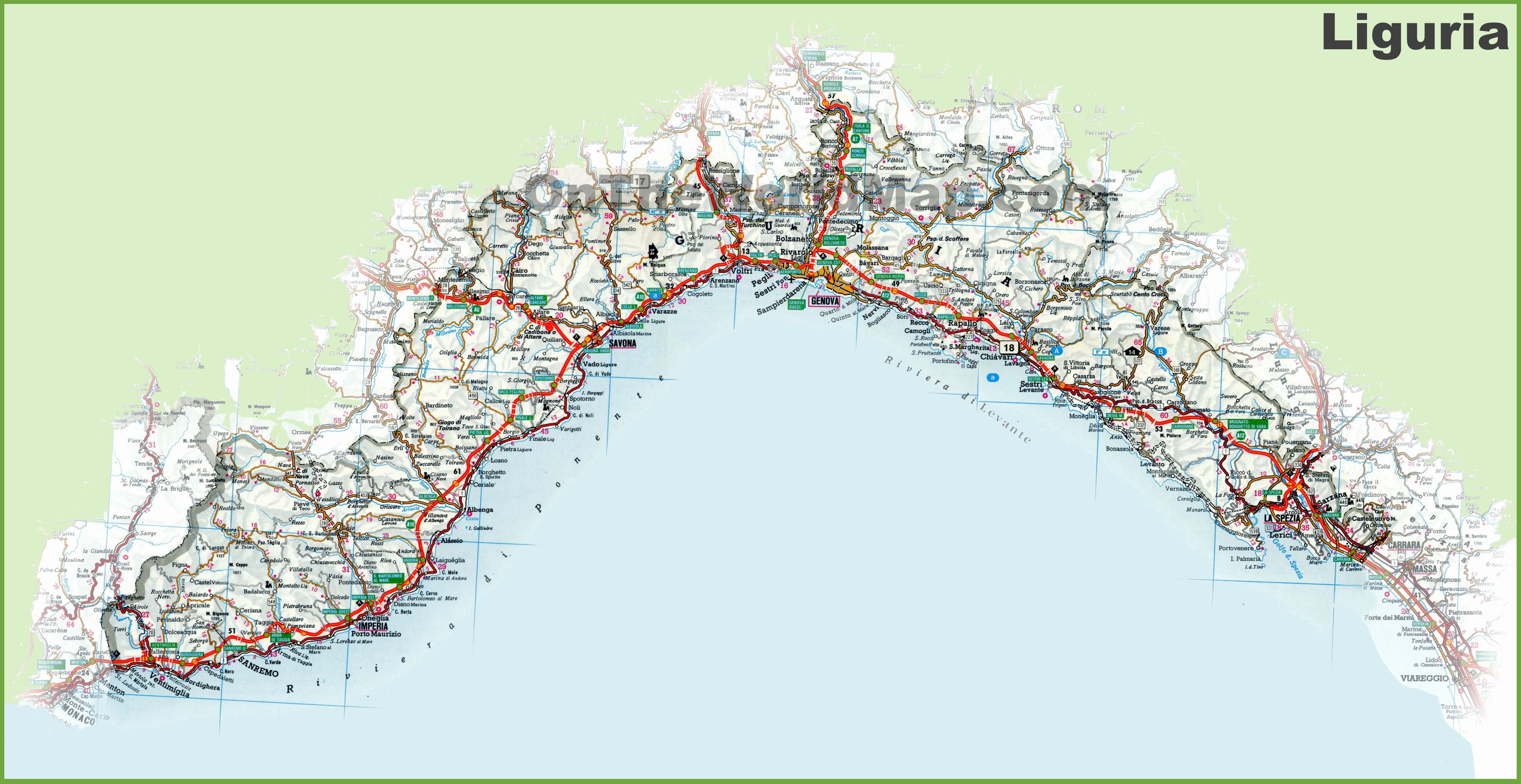 Liguria road map