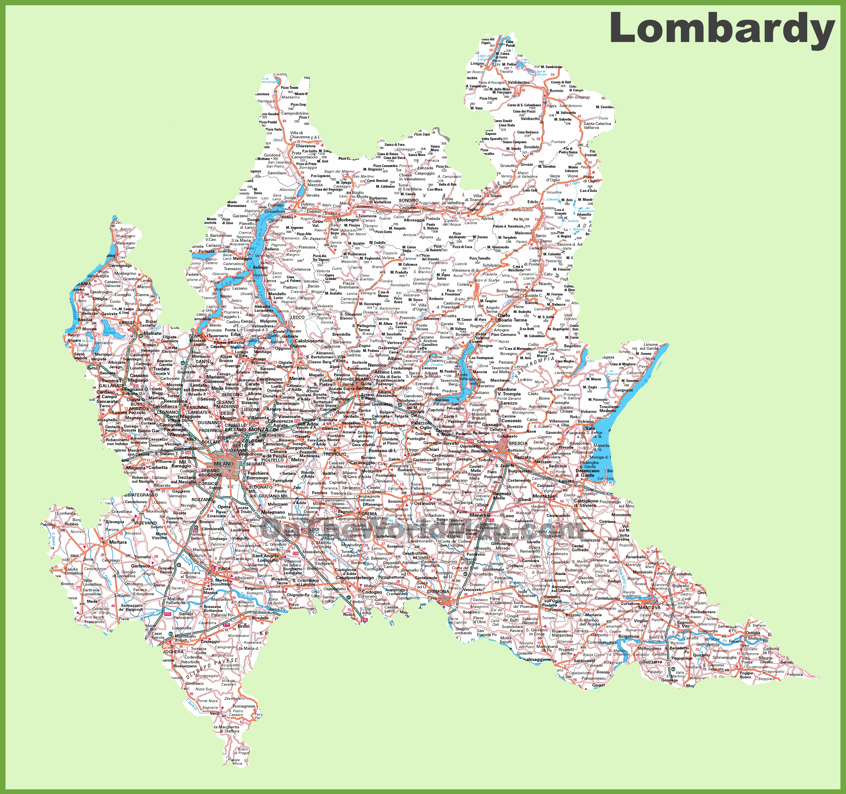 Large detailed map of Lombardy with cities and towns