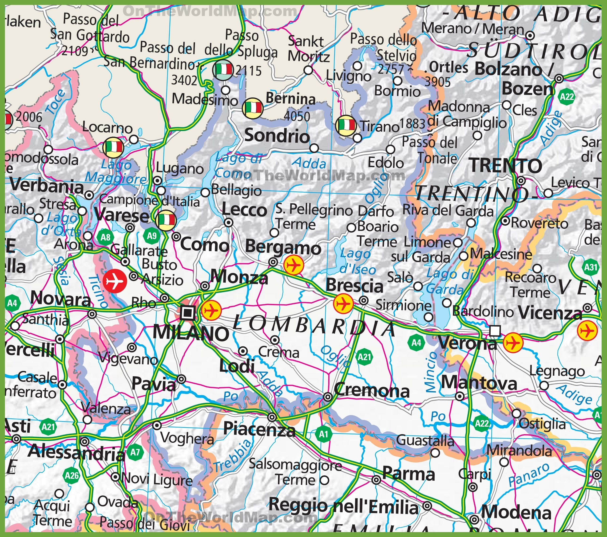 Large map of Lombardy