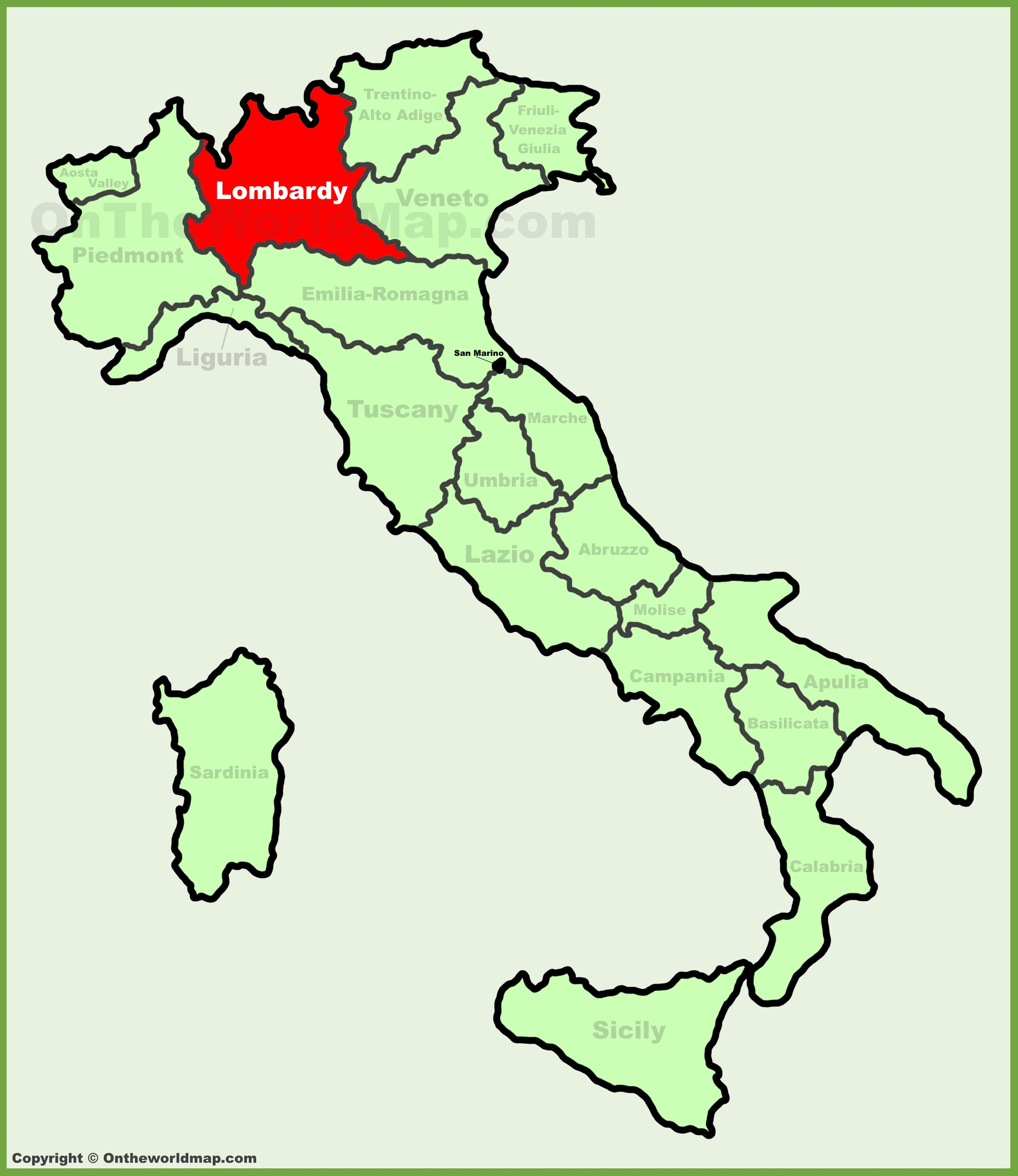 Lombardy location on the Italy map