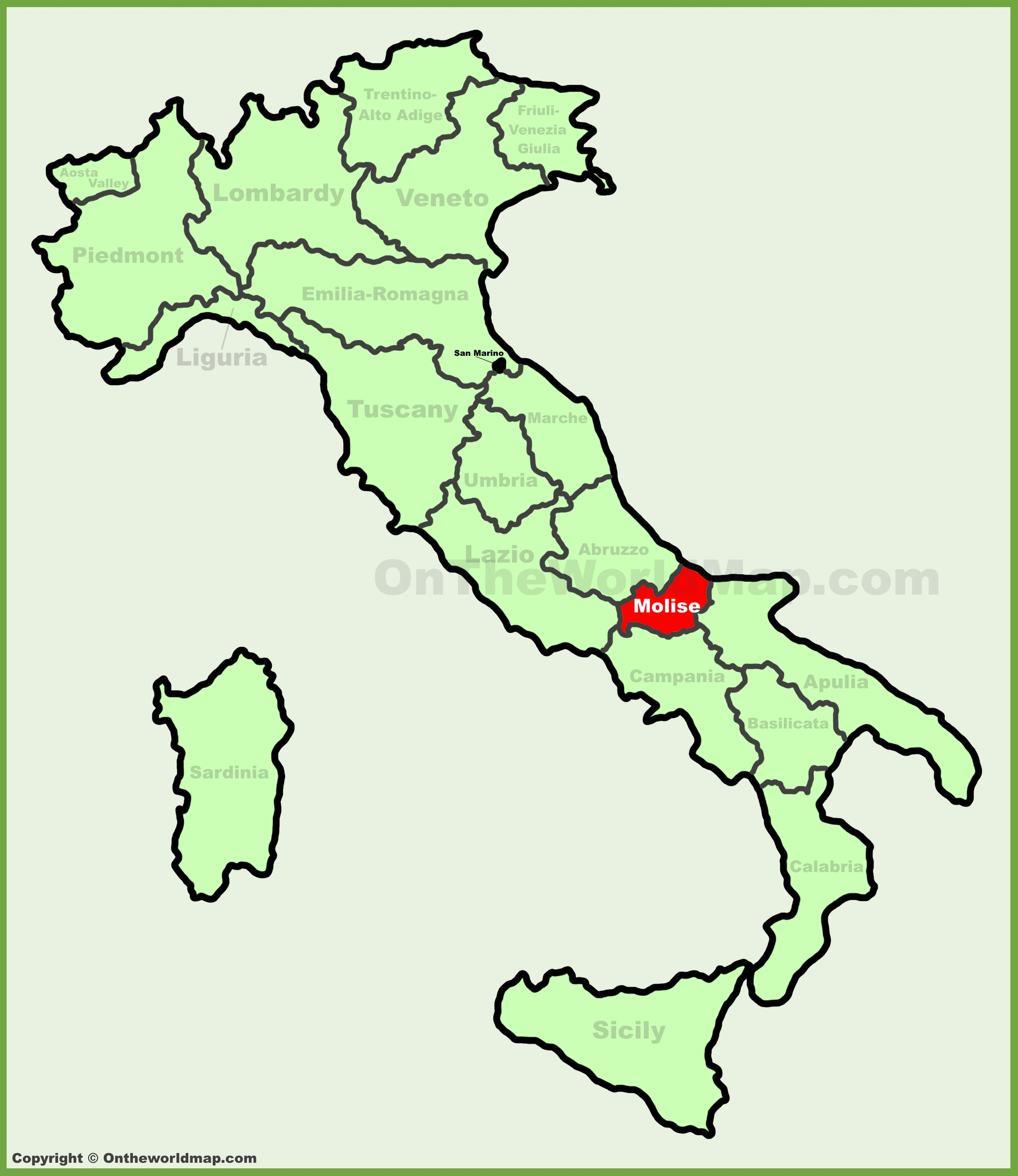 Molise location on the Italy map
