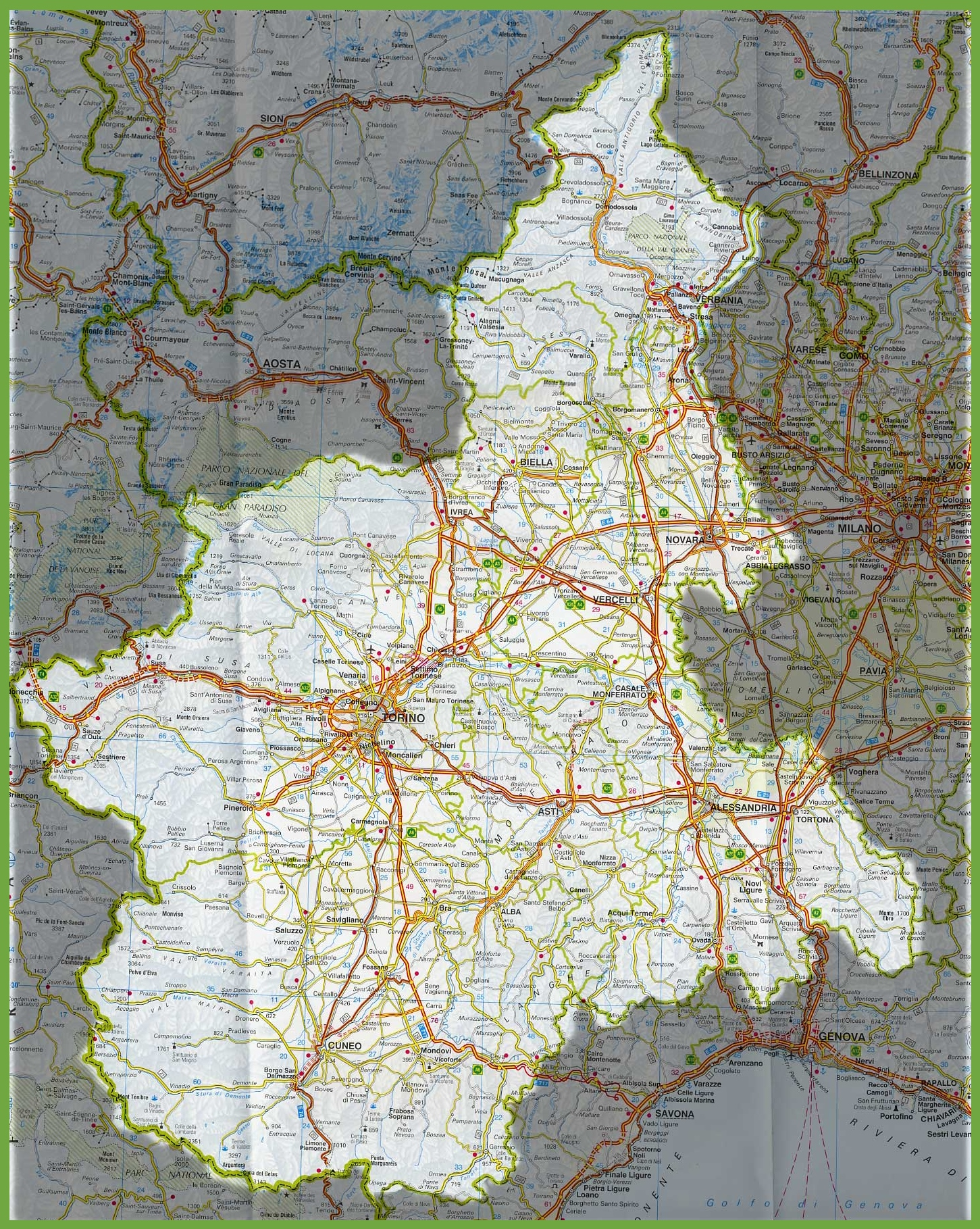 Large detailed map of Piedmont with cities and towns