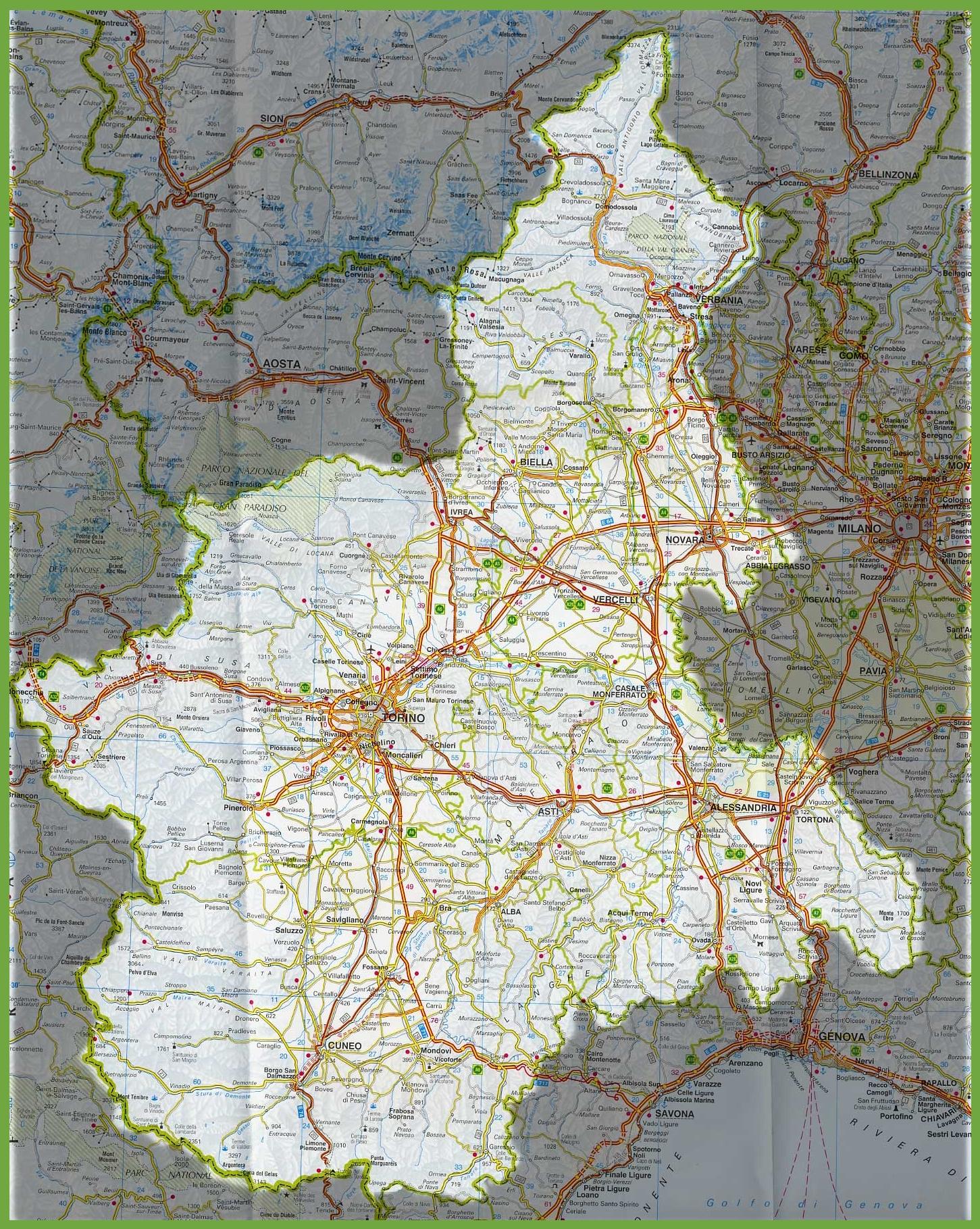 Cartina Dettagliata Piemonte.Grande Mappa Dettagliata Di Piemonte Con Citta