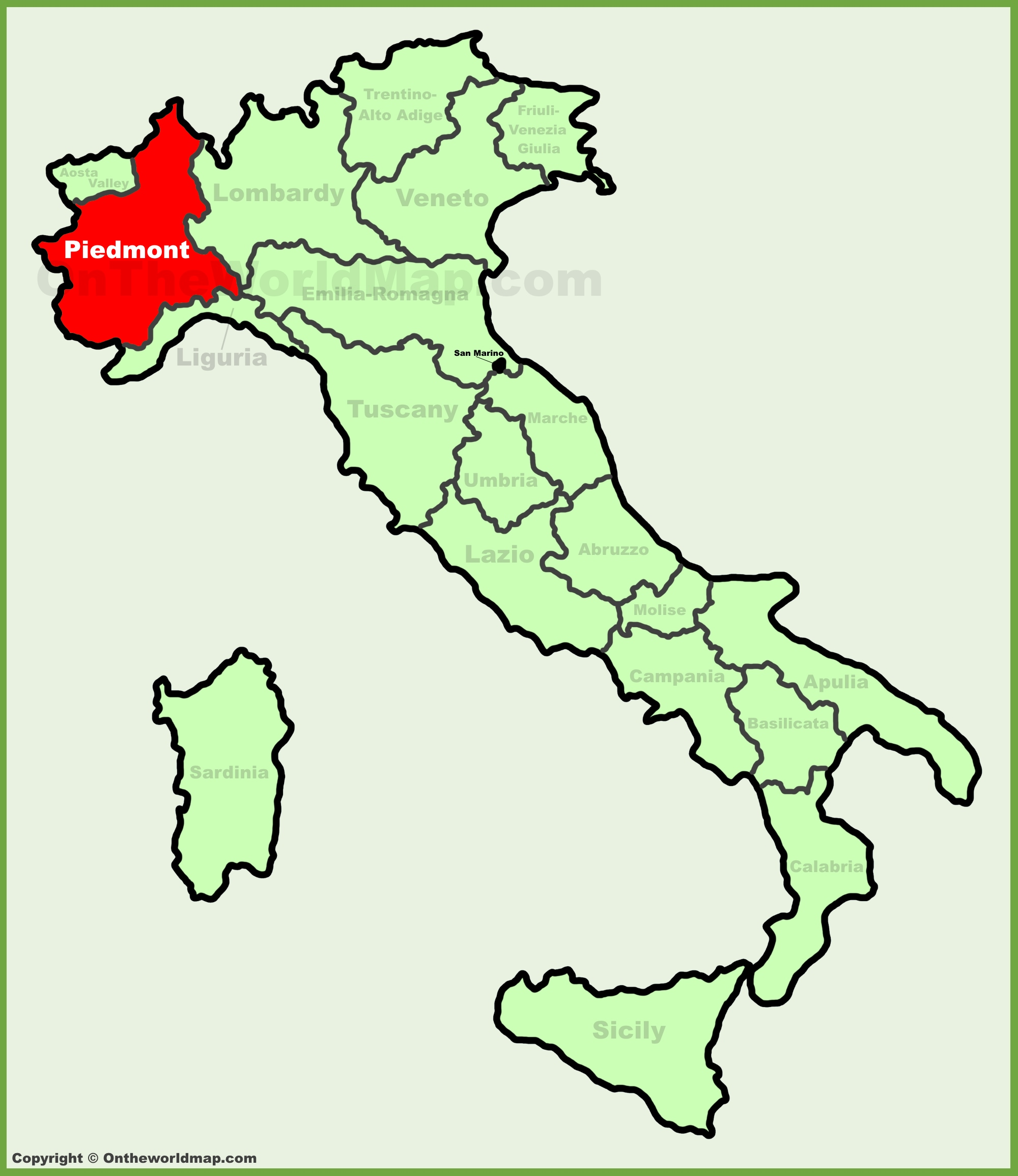piedmont location on the italy map