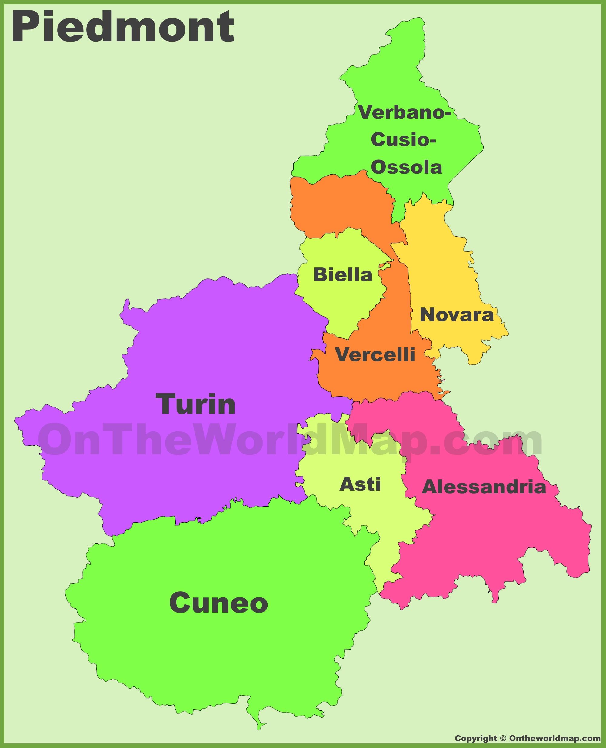 Piedmont provinces map