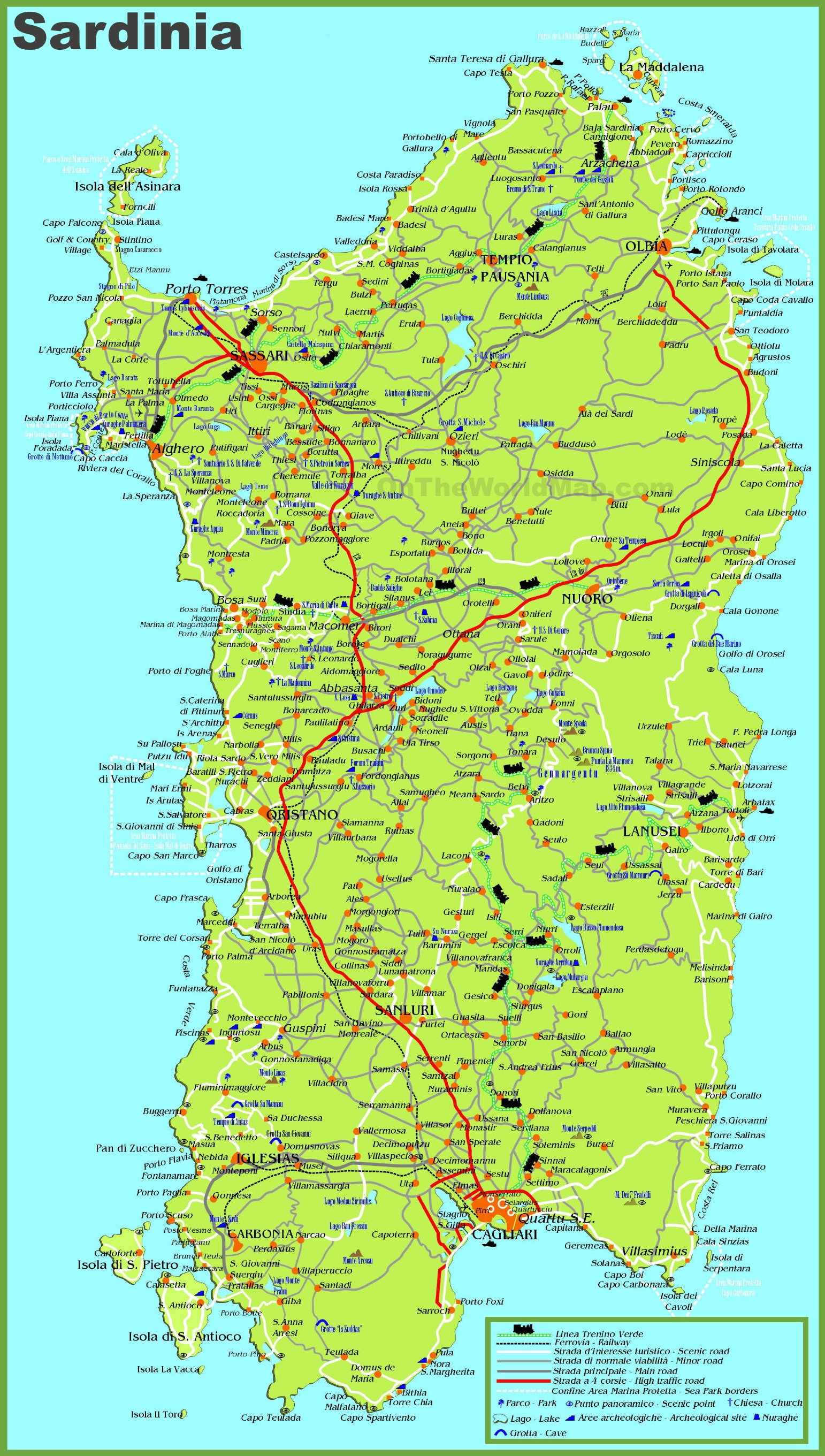 Large Detailed Map Of Sardinia With Cities Towns And Roads - Cities map of italy