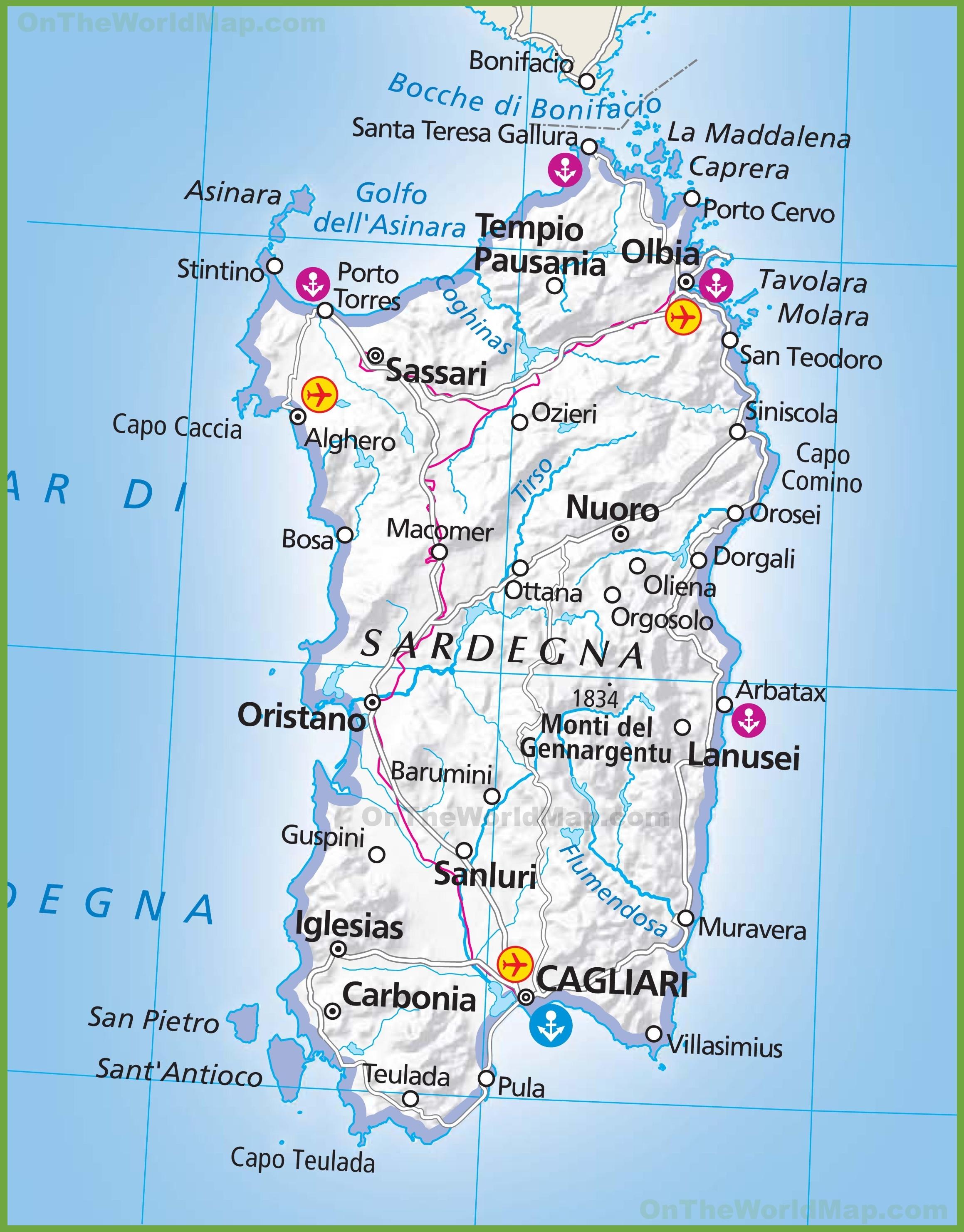 Map Of Sardinia Large map of Sardinia Map Of Sardinia