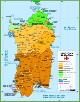 Map of languages in Sardinia