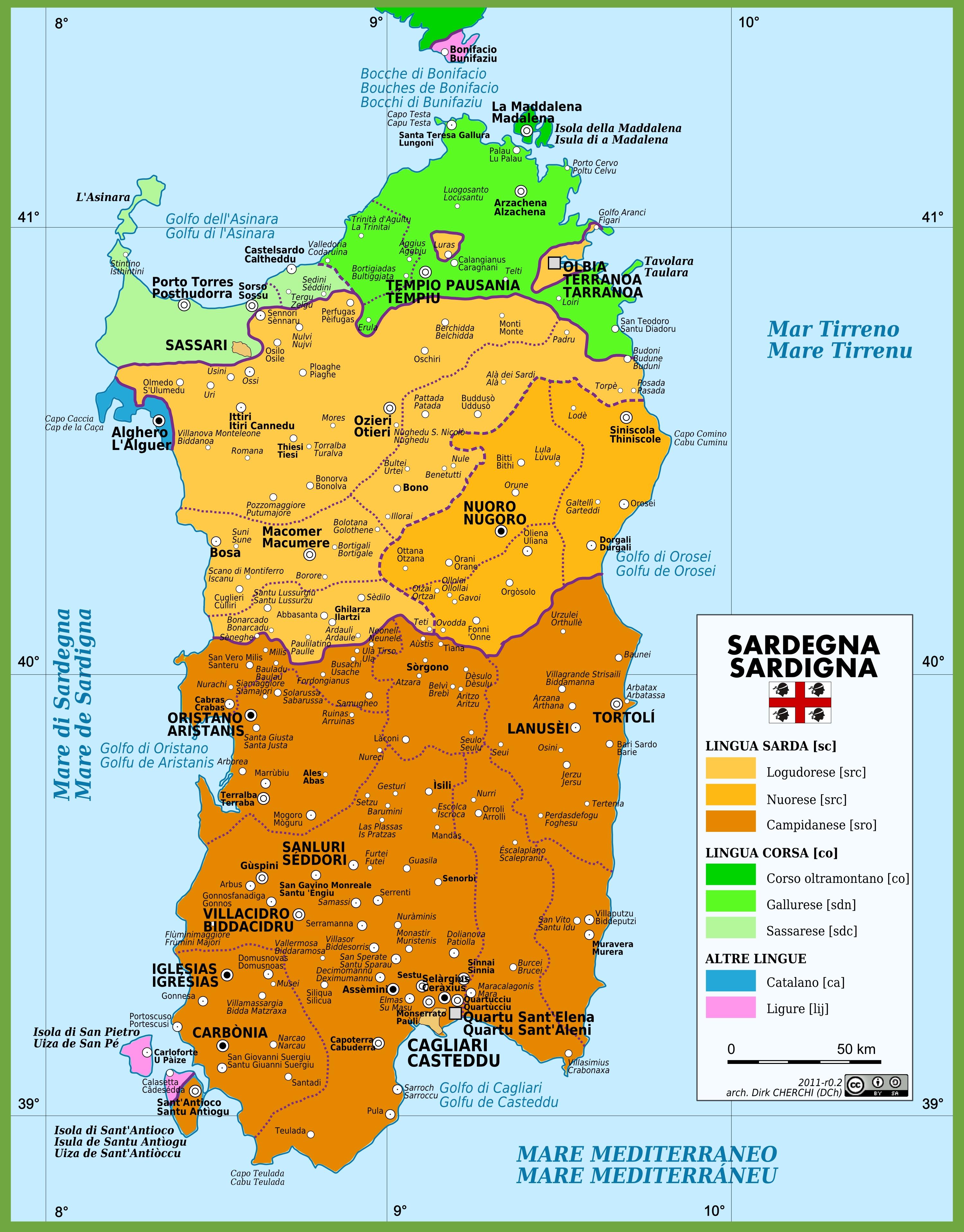 Cartina Sardegna Grande.Mappa Delle Lingue In Sardegna