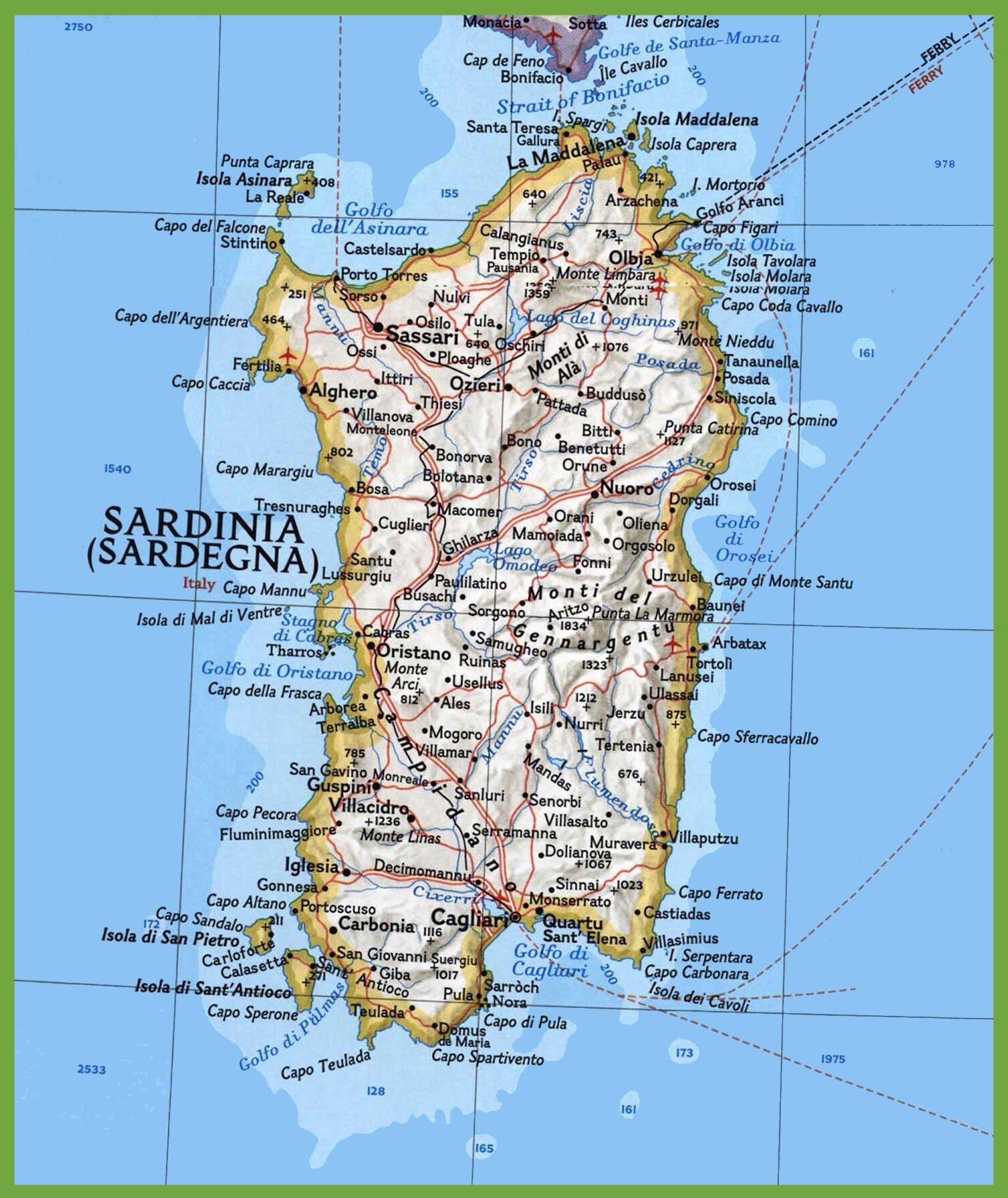 Map Of Sardinia Map of Sardinia with cities and towns Map Of Sardinia