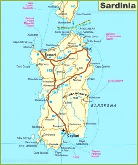 Road map of Sardinia