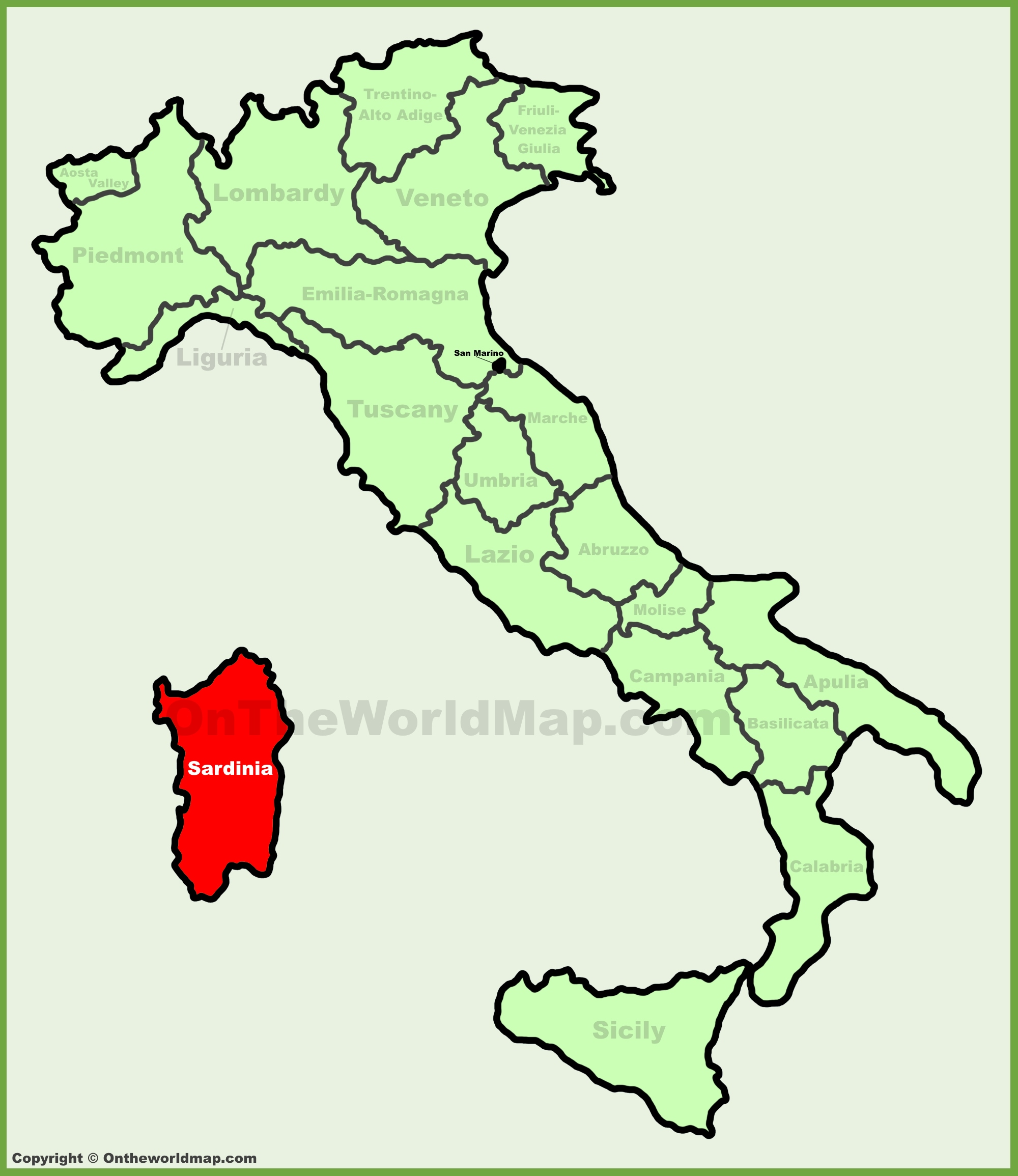 Sardinia location on the Italy map