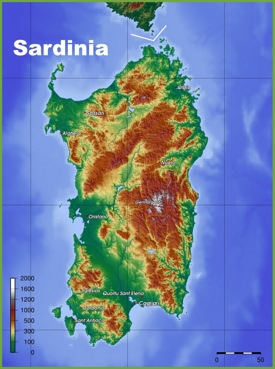 Sardinia physical map