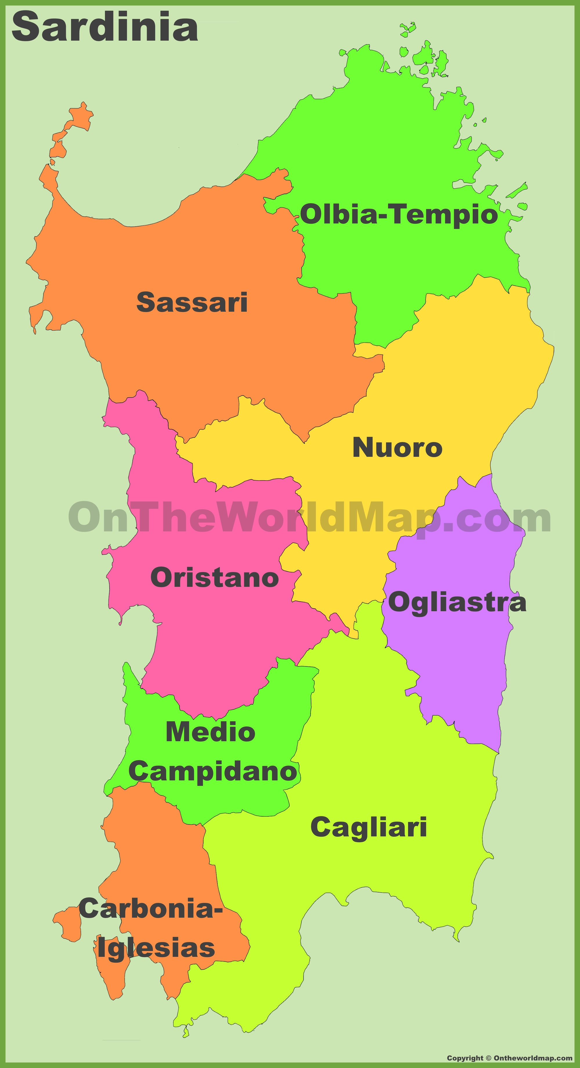 Map Of Provinces Of Italy.Sardinia Provinces Map