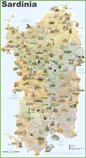 Sardinia tourist map