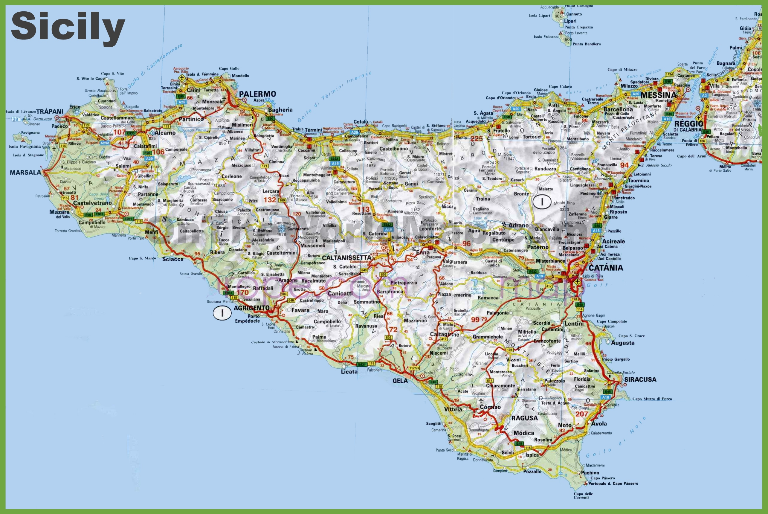 Sicily On Map Of Italy.Large Detailed Road Map Of Sicily