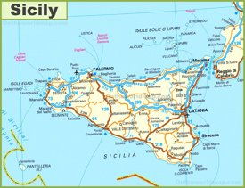 Road map of Sicily with cities and towns