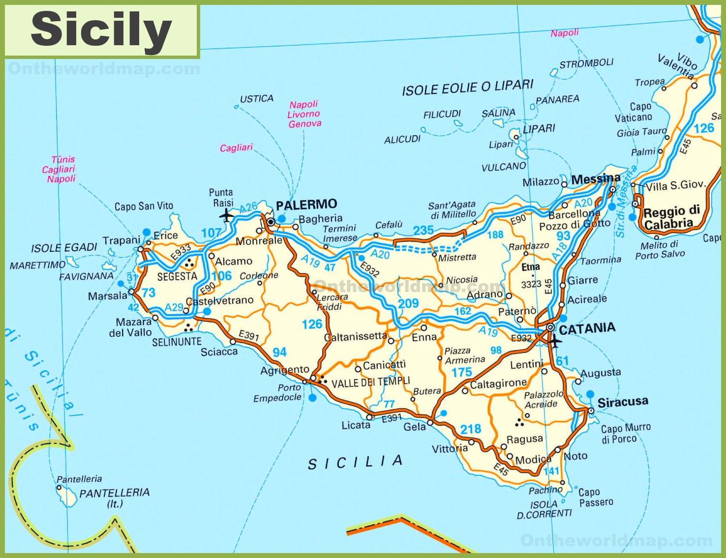 Cities In Sicily Italy Map.Road Map Of Sicily With Cities And Towns