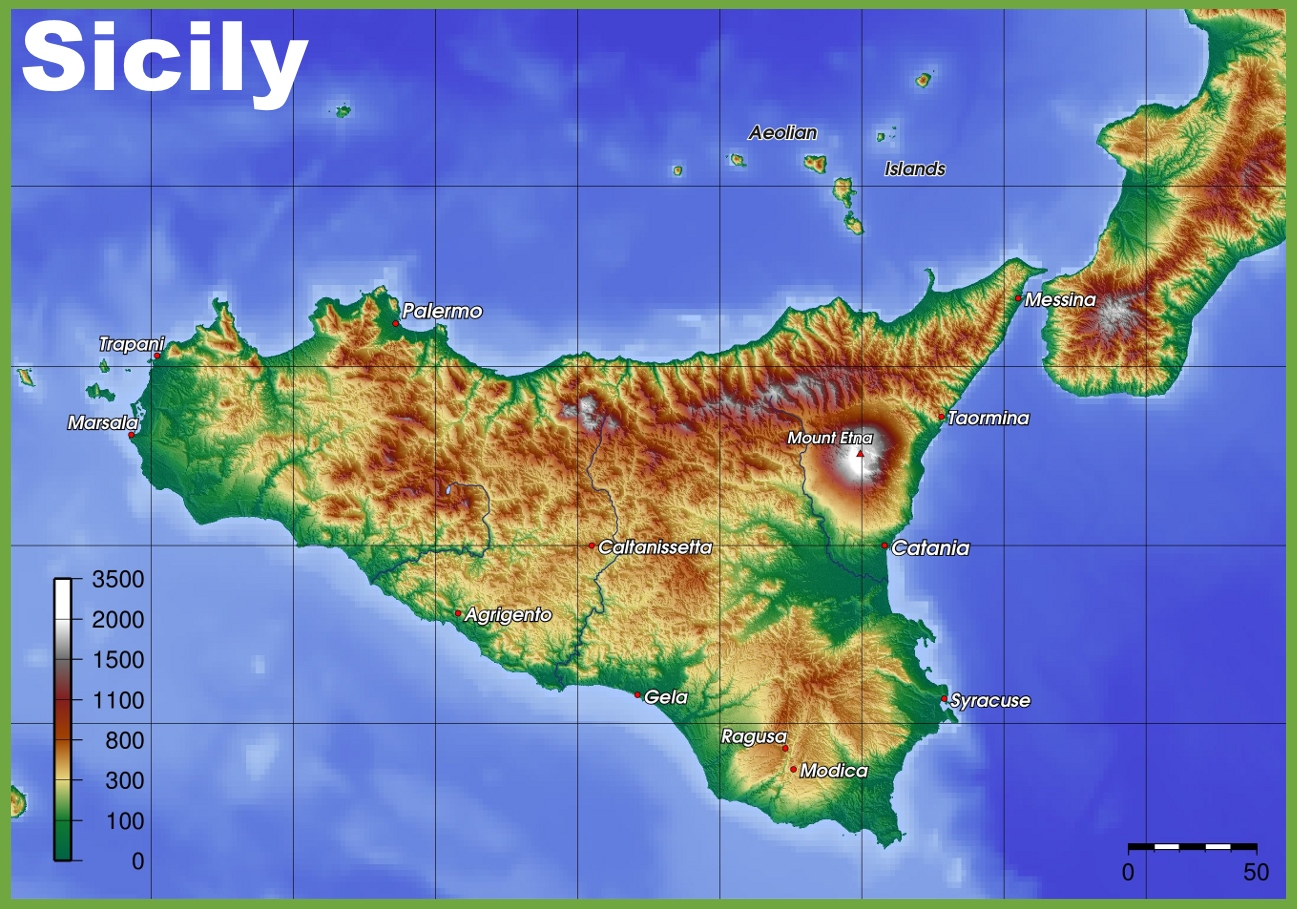 Sicily Physical Map - Physical map of italy