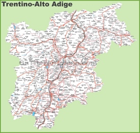 Large detailed map of Trentino-Alto Adige with cities and towns