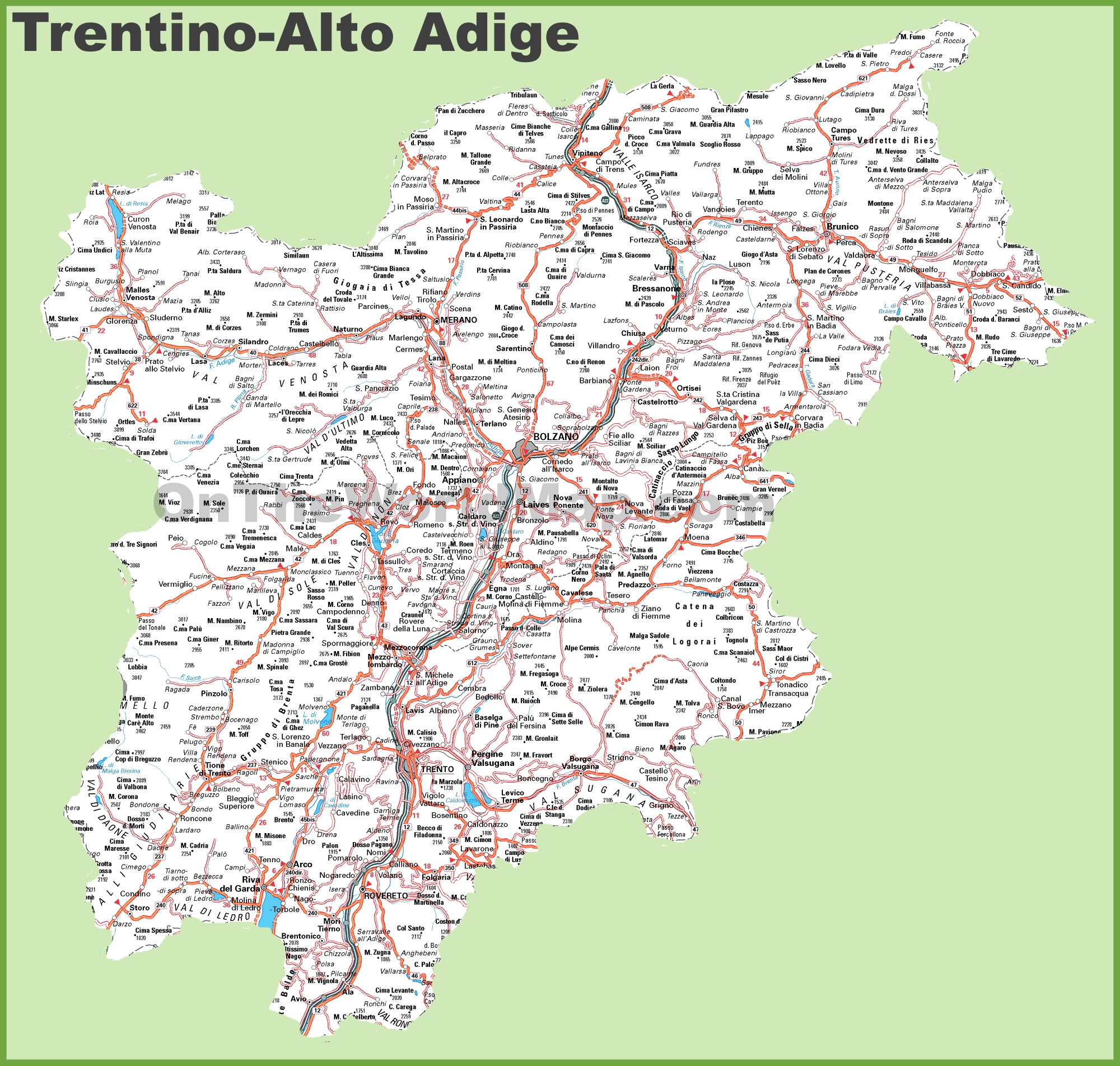 Large detailed map of trentino alto adige with cities and for Arredamento trentino alto adige