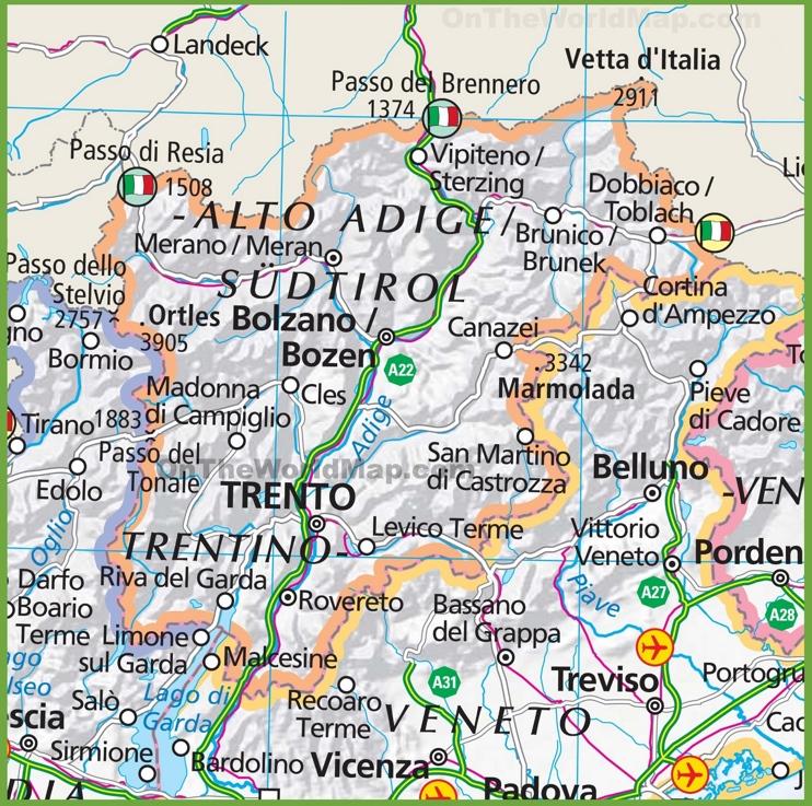 Large map of trentino alto adige for Mobilificio trentino alto adige