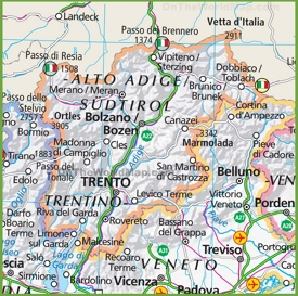 Large map of Trentino-Alto Adige