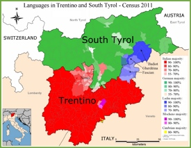 Map of languages in Trentino-Alto Adige