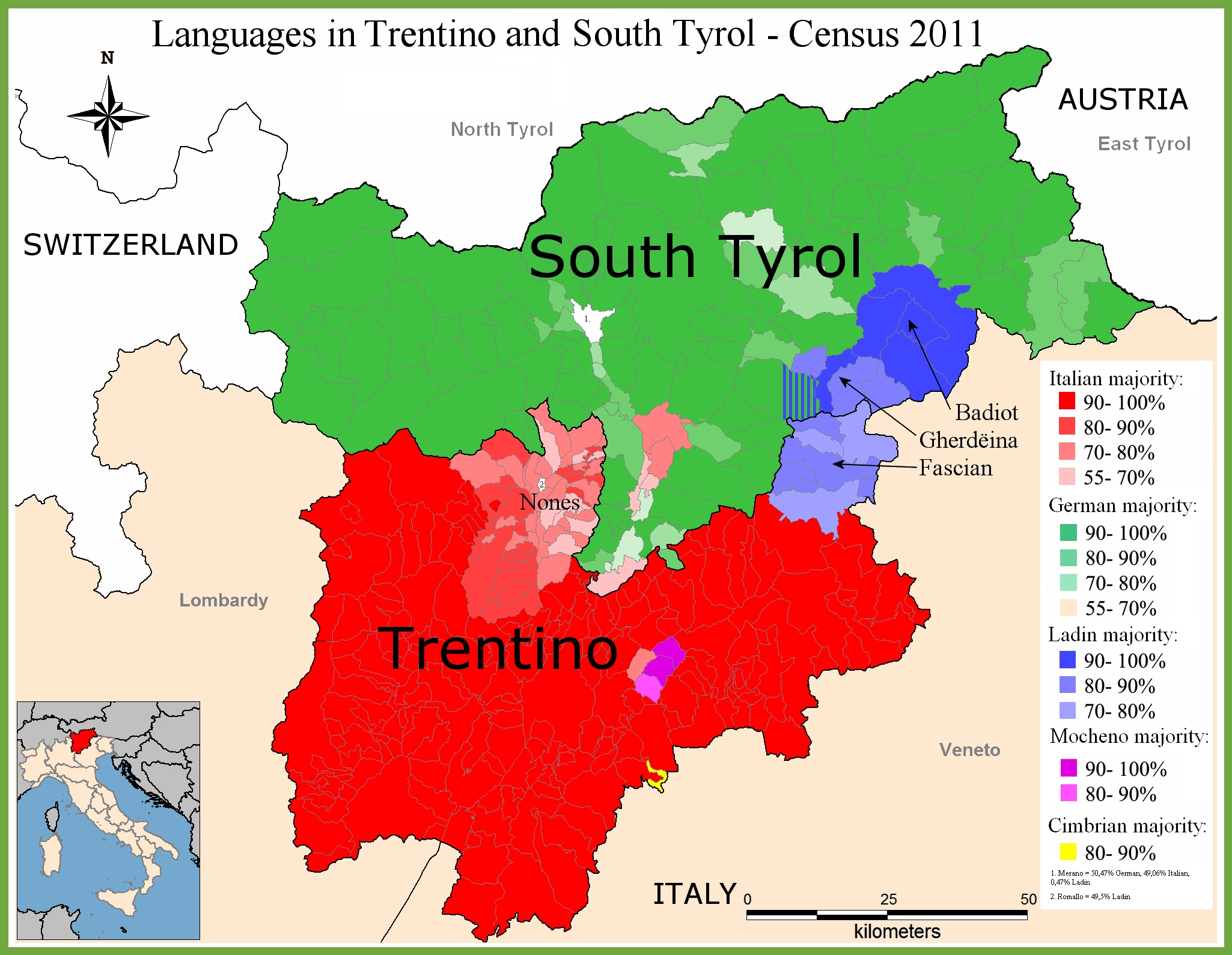 Map of languages in TrentinoAlto Adige