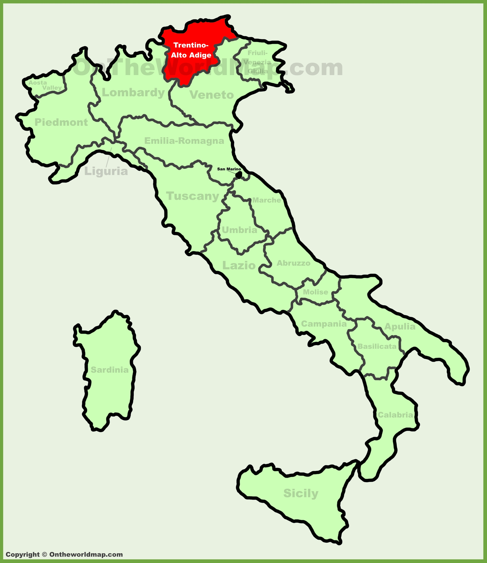 TrentinoAlto Adige location on the Italy map
