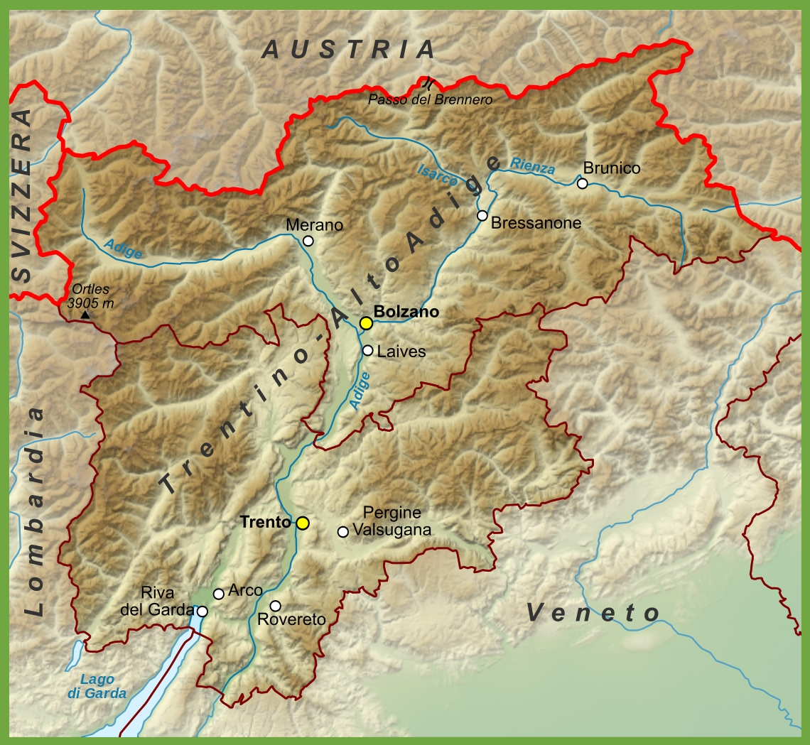TrentinoAlto Adige physical map